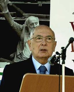 Il Presidente Giorgio Napolitano, durante il suo intervento al Convegno per il XX Anniversario della scomparsa di Altiero Spinelli.