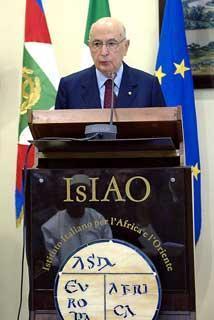 Il Presidente Giorgio Napolitano durante il suo intervento all'Istituto Italiano per l'Africa e l'Oriente