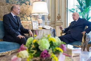 Il Presidente Giorgio Napolitano nel corso dell'incontro con Alessandro Pansa, nuovo Capo della Polizia di Stato