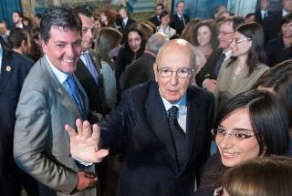Il Presidente Giorgio Napolitano saluta i Magistrati ordinari in tirocinio