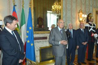 Il Presidente Giorgio Napolitano durante il suo intervento in occasione dell'incontro con una rappresentanza degli Istituti di formazione del Corpo Forestale dello Stato per il 191° anniversario di fondazione