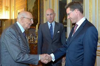 Il Presidente Giorgio Napolitano accoglie il Sig. Jyrki Katainen, Primo Ministro della Repubblica di Finlandia al Quirinale