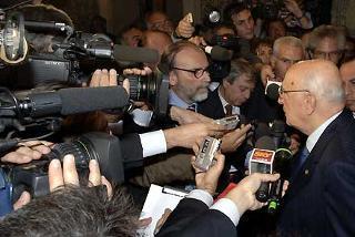 Il Presidente Giorgio Napolitano al termine della cerimonia di commemorazione dell'On. Luciano Lama