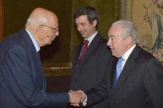 Il Presidente Giorgio Napolitano con il Dott. Paul Gilligan, Presidente della Rete europea dei Consigli di Giustizia in occasione dell'inaugurazione dell'Assemblea generale della Rete Europea dei Consigli di Giustizia e celebrazione del 10° anniversario di Costituzione della Rete