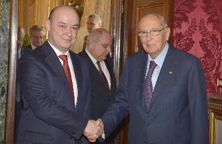 Il Presidente Giorgio Napolitano con il Sig. Ravshan Usmanov, nuovo Ambasciatore della Repubblica dell'Uzbekistan: presentazione delle Lettere Credenziali
