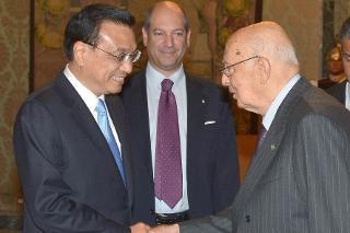 Il Presidente Giorgio Napolitano accoglie Li Keqiang, Primo Ministro della Repubblica Popolare Cinese