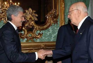 Il Presidente Giorgio Napolitano con Massimo D'Alema, Ministro degli Esteri, in occasione del ricevimento con le Rappresentanze Diplomatiche Estere nella ricorrenza della Festa della Repubblica.