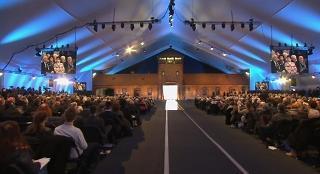 Un momento della cerimonia di commemorazione del 70° anniversario della liberazione del campo di concentramento di Auschwitz-Birkenau