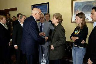 Il conforto del Presidente della Repubblica Giorgio Napolitano e della moglie Clio ai familiari di Alessandro Pibiri, il giovane militare della Brigata Sassari ucciso a Nassiriya