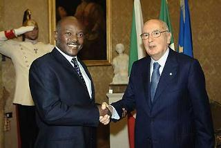 Il Presidente Giorgio Napolitano accoglie Pierre Nkurunziza, Presidente della Repubblica del Burundi