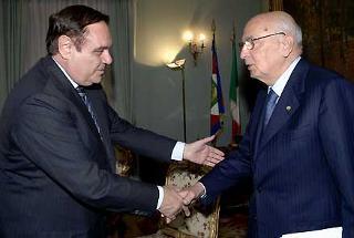 Il Presidente Giorgio Napolitano con il Ministro della Giustizia Clemente Mastella in occasione della seduta ordinaria del CSM
