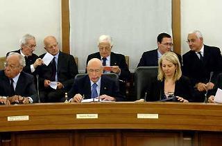 Il Presidente Giorgio Napolitano durante il suo intervento alla seduta ordinaria del CSM