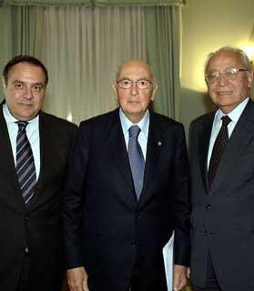 Il Presidente Giorgio Napolitano con il Vice Presidente del CSM, Virginio Rognoni ed il Ministro della Giustizia, Clemente Mastella a Palazzo dei Marescialli