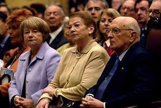 Il Presidente Giorgio Napolitano, la moglie Clio e la Signora Marisa Malagoli Togliatti in occasione della cerimonia celebrativa del 60°anniversario dell'estensione del diritto di voto alle donne con l'emissione di un francobollo dedicato a Nilde Iotti