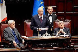 Il Presidente Giorgio Napolitano durante il suo intervento alla Camera, in Seduta comune del Parlamento, per la celebrazione del 60° anniversario della Costituzione