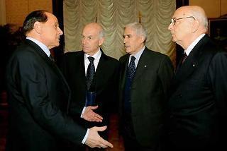 Il Presidente Giorgio Napolitano, nella foto con i Presidenti del Senato e Camera Franco Marini e Fausto Bertinotti e l'ex Presidente del Consiglio Silvio Berlusconi in occasione della Seduta comune del Parlamento per la celebrazione del 60° Anniversario della Costituzione