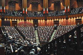 Il Presidente Giorgio Napolitano nell'Aula Parlamentare della Camera, celebra, a Camere riunite, i 60 anni della Costituzione