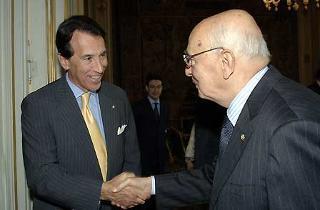 Il Presidente Giorgio Napolitano accoglie Ken Ciongoli, Chairman della National Italian American Foundation