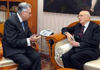 Il Presidente Giorgio Napolitano con Tullio Lazzaro, Presidente della Corte dei conti, in occasione della cerimonia di inaugurazione dell'Anno Giudiziario
