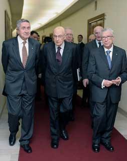 Il Presidente Giorgio Napolitano con Tullio Lazzaro e Furio Pasqualucci,rispettivemente Presidente e Procuratore Generale della Corte dei conti, al termine della cerimonia di inaugurazione dell'Anno Giudiziario