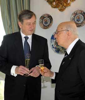 Il Presidente Giorgio Napolitano con il Presidente della Repubblica di Slovenia Danilo Turk durante la colazione di lavoro al Quirnale