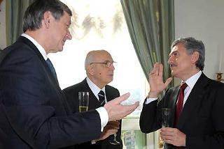 Il Presidente Giorgio Napolitano con il Ministro degli Esteri Massimo D'Alema, durante l'incontro con il Presidente della Repubblica di Slovenia Turk