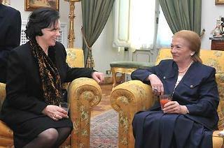 La Signora Clio Napolitano con la moglie del Presidente della Repubblica di Slovenia Turk in un momento dell'incontro al Quirinale