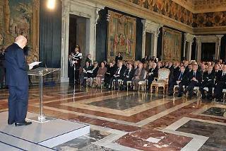 Il Presidente Giorgio Napolitano durante il suo intervento, in occasione della commemorazione del Giorno del Ricordo