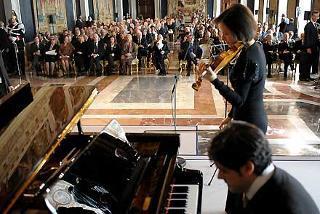 Un momento della Commemorazione del Giorno del Ricordo alla presenza del Presidente della Repubblica Giorgio Napolitano e della moglie Clio