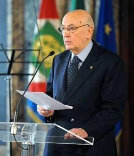 Il Presidente Giorgio Napolitano rivolge il suo indirizzo di saluto ai presenti in occasione del Giorno del Ricordo