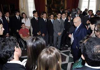 Il Presidente Giorgio Napolitano durante l'incontro con gli studenti del Liceo Umberto Primo di Napoli.