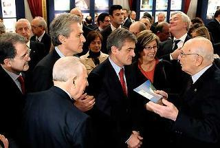 Il Presidente Giorgio Napolitano, nella foto con Carlo Azeglio Ciampi, Romano Prodi, Francesco Rutelli e Mercedes Bresso durante l'incontro con il Comitato Ministeriale per la Promozione delle iniziative connesse alla celebrazione del 150° anniversario dell'Unità d'Italia