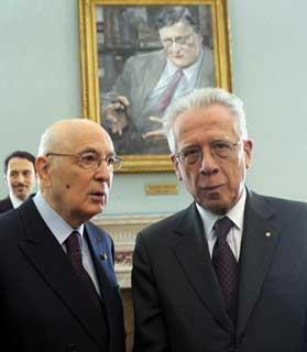 Il Presidente Giorgio Napolitano con il Ministro dell'Economia e delle Finanze, Tommaso Padoa Schioppa in occasione della Giornata di Studio in memoria di Beniamino Andreatta