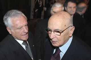 Il Presidente Giorgio Napolitano con il Presidente del Consiglio di Stato Paolo Salvatore ed il Presidente del Consiglio Romano Prodi alla cerimonia di insediamento e di presentazione della Relazione sull'attivita della giustizia amministrativa
