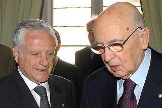 Il Presidente Giorgio Napolitano con Paolo Salvatore, Presidente del Consiglio di Stato in occasione della cerimonia del suo insediamento e della presentazione della Relazione sull'attività della giustizia amministrativa