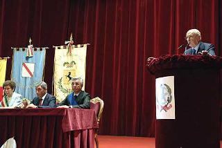 Il PresidenteGiorgio Napolitano durante il suo intervento al Teatro di Corte.