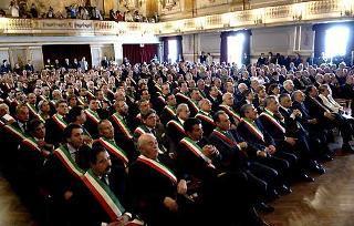 Un aspetto della sala del Teatro di Corte durante l'intervento del Presidente Giorgio Napolitano.