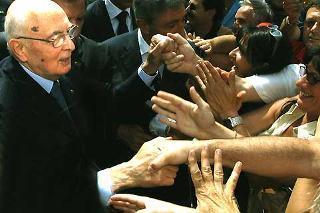 Il Presidente Giorgio Napolitano, durante la visita alla città