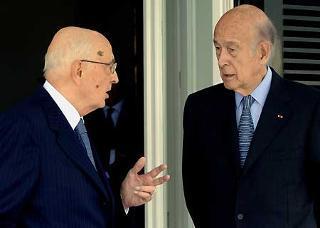 Il Presidente Giorgio Napolitano con Valery Giscard d'Estaing, ex Presidente della Repubblica Francese ed ex Presidente della Convenzione Europea a Villa Rosebery
