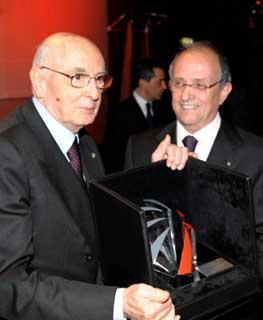 Il Presidente Giorgio Napolitano con il Presidente e Amministratore Delegato di Finmeccanica Pier Francesco Guarguaglini, in occasione della celebrazione del 60° anniversario di Finmeccanica.