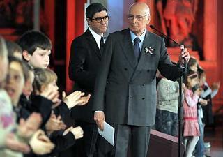 Il Presidente Giorgio Napolitano durante l'incontro a Palazzo Vecchio sulla Costituzione Italiana.