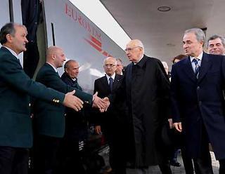 Il Presidente Giorgio Napolitano al suo arrivo a Firenze.