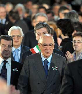 Il Presidente Giorgio Napolitano al suo arrivo a Palazzo Veccchio.