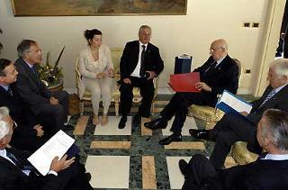 Il Presidente Giorgio Napolitano con i Segretari Provinciali delle Organizzazioni Sindacali a Villa Rosebery