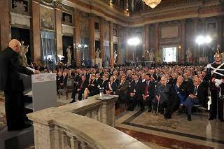 Il Presidente Giorgio Napolitano durante il suo intervento a Palazzo Ducale