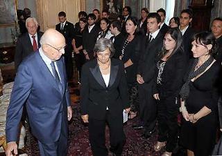 Il Presidente Giorgio Napolitano durante l'incontro con gli studenti del Campus estivo del Laboratorio di Pari Opportunità dell'Arcidonna