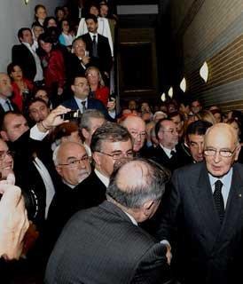 """Il Presidente Giorgio Napolitano all'Auditorium Augustinianum in occasione della presentazione del libro """"Non rubate la speranza"""" presente l'autore S.Em. il Cardinale Crescenzio Sepe"""