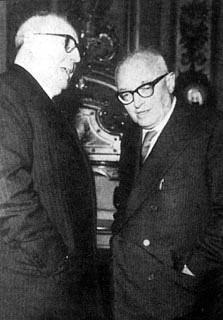Il Presidente della Repubblica Giuseppe Saragat con l'on.Pietro Nenni