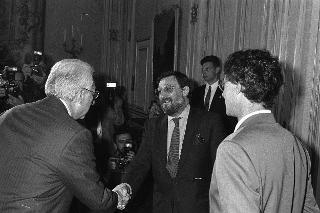 Incontro del Presidente della Repubblica Francesco Cossiga con Umberto Bossi