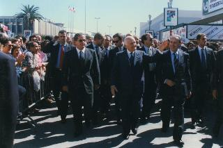 Il Presidente Oscar Luigi Scalfaro alla Fiera del Levante di Bari. 15 settembre 1996